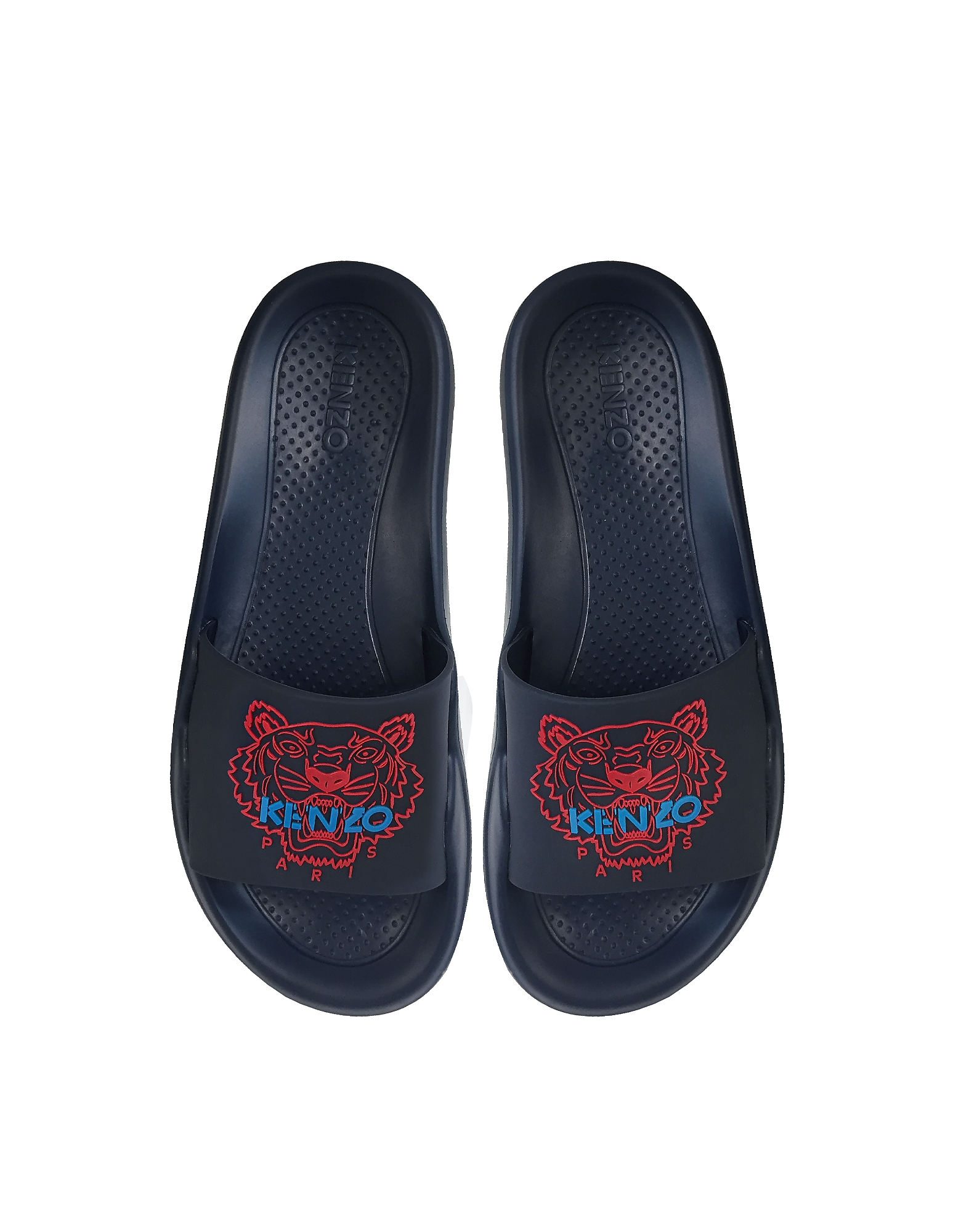 Kenzo Shoes, Navy Blue Tiger Women's Flat Sandals