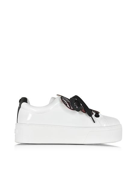 Foto Kenzo Flower Sneaker con Zeppa in Vernice Bianco Ottico Scarpe