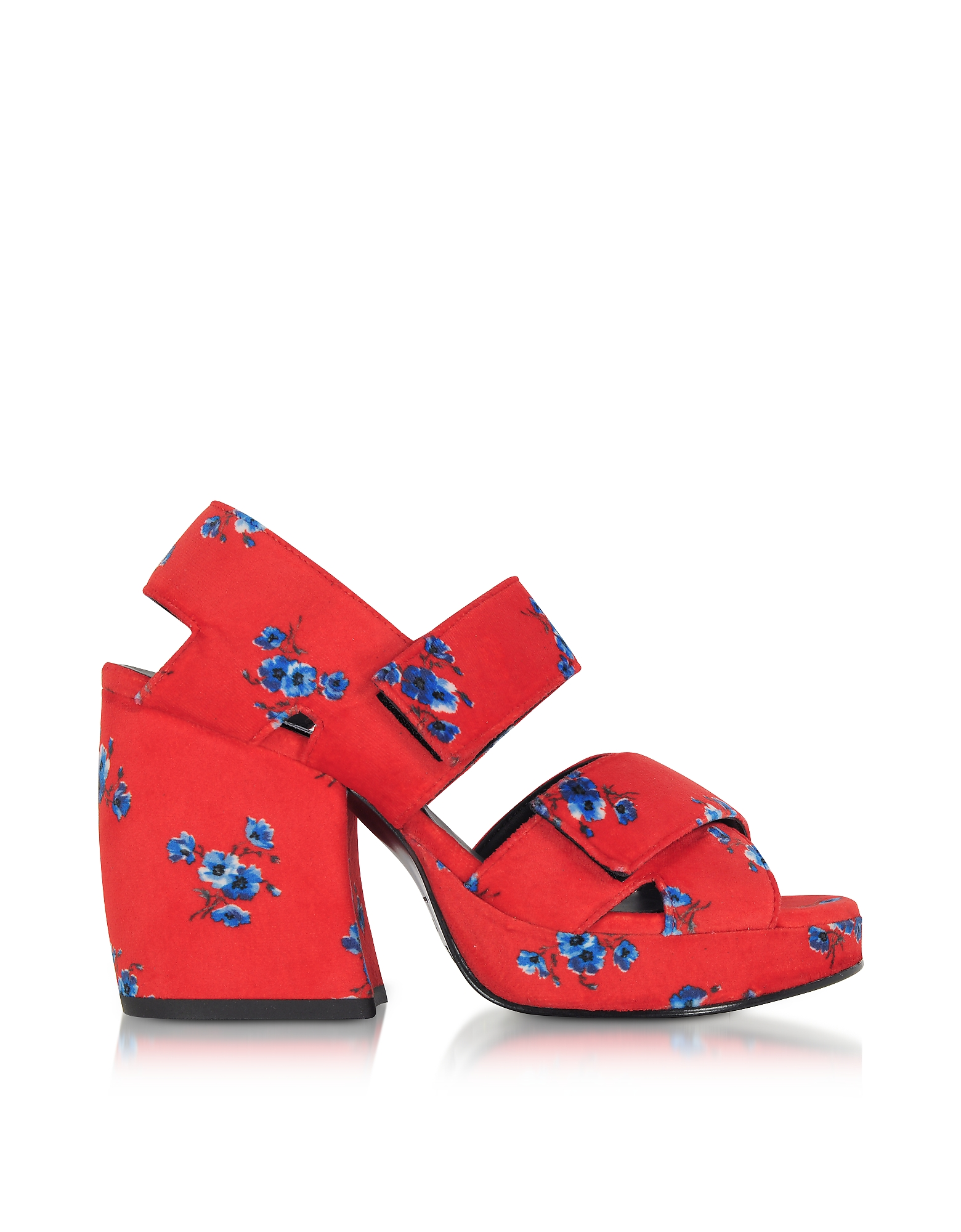 Kenzo Shoes, Red Fabric Memento Heeled Platform Sandals