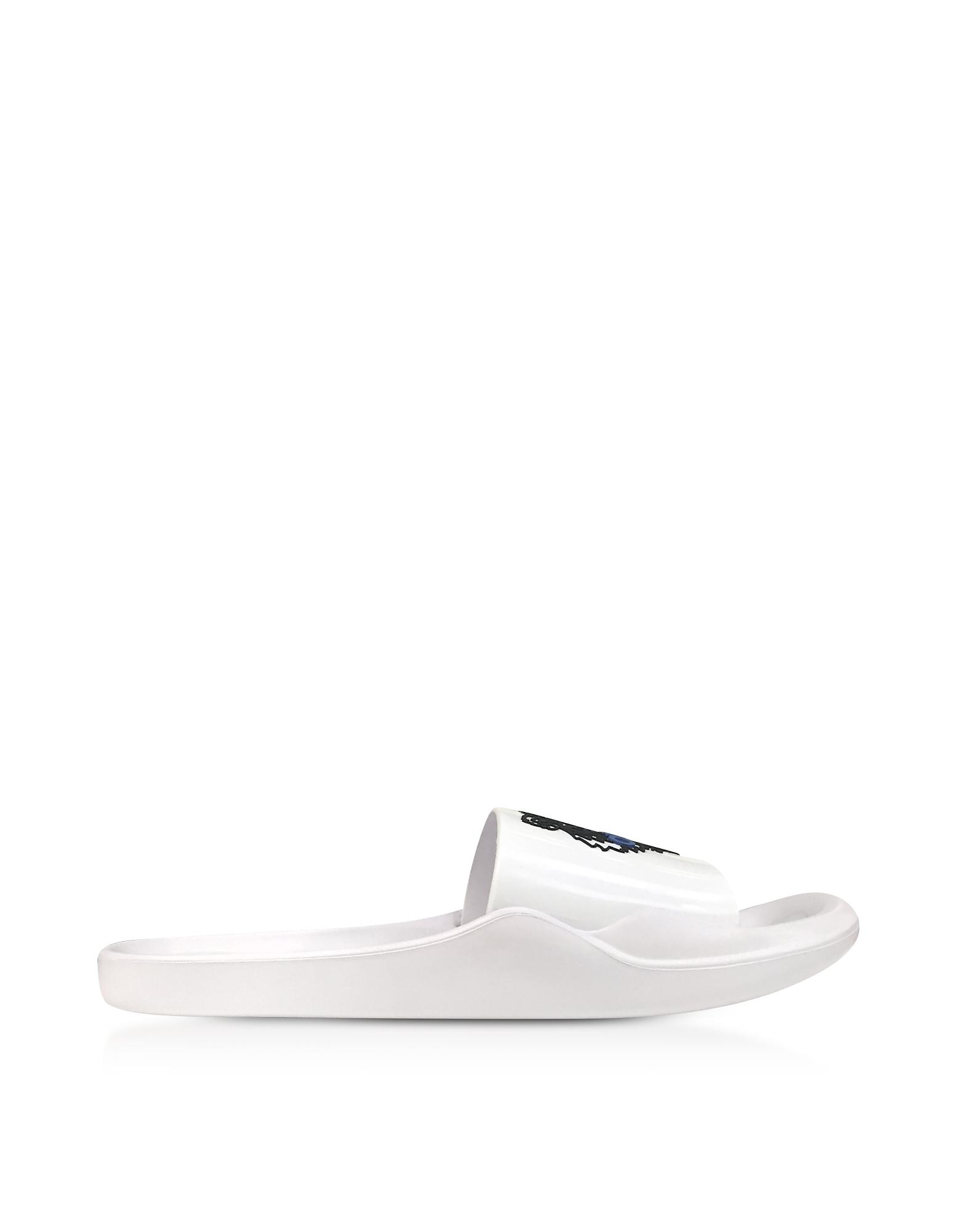 Kenzo Shoes, White Men's Pool Sandals w/Tiger Logo