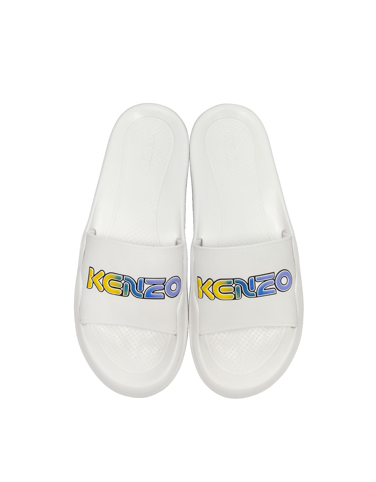 Kenzo Designer Shoes, White Kenzo Logo Pool Mules
