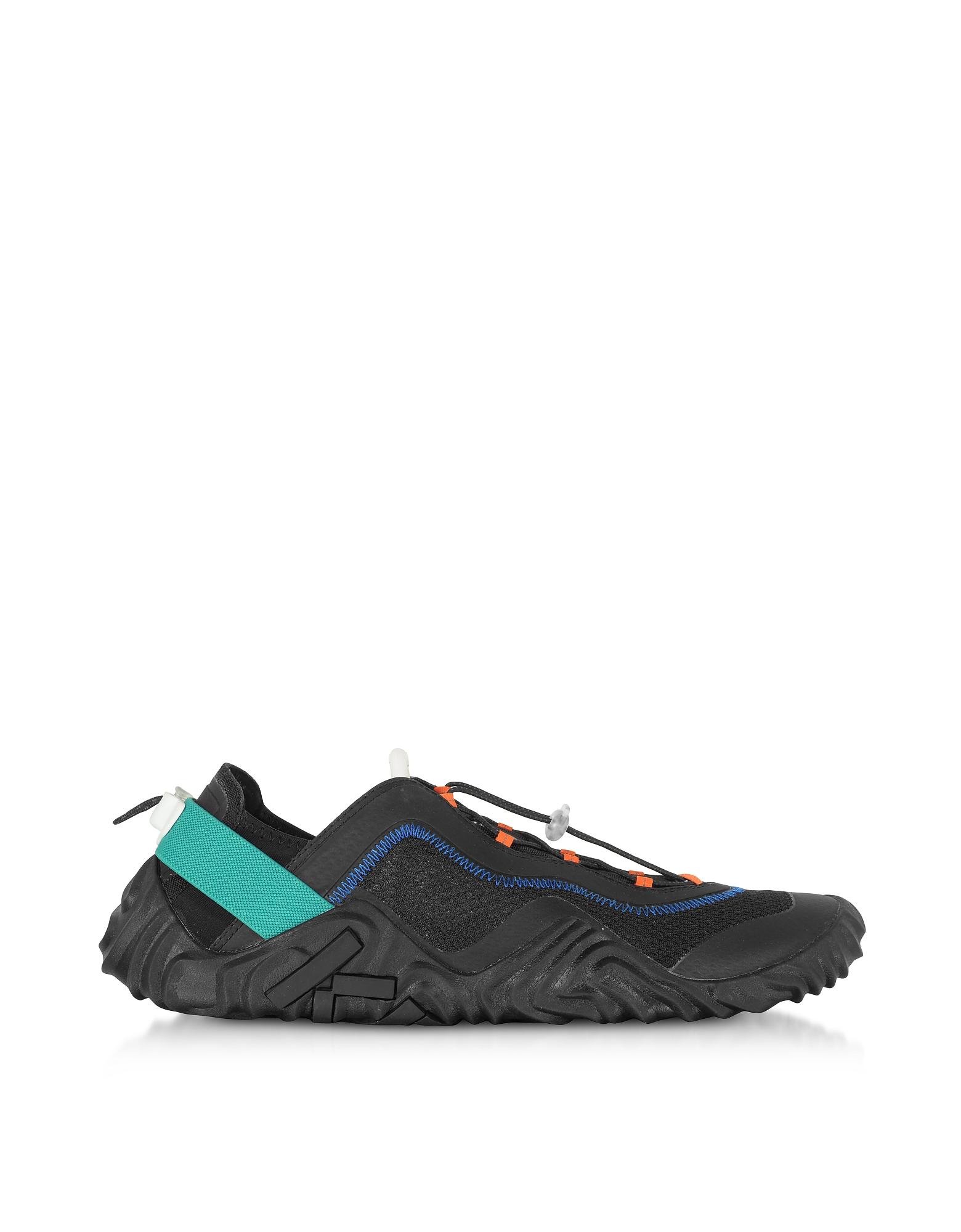 Kenzo Designer Shoes, Black Mesh Kenzo Wave Runway Sneakers