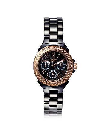 Ceramic Diamonds Black Multifunction Quartz Movement Watch