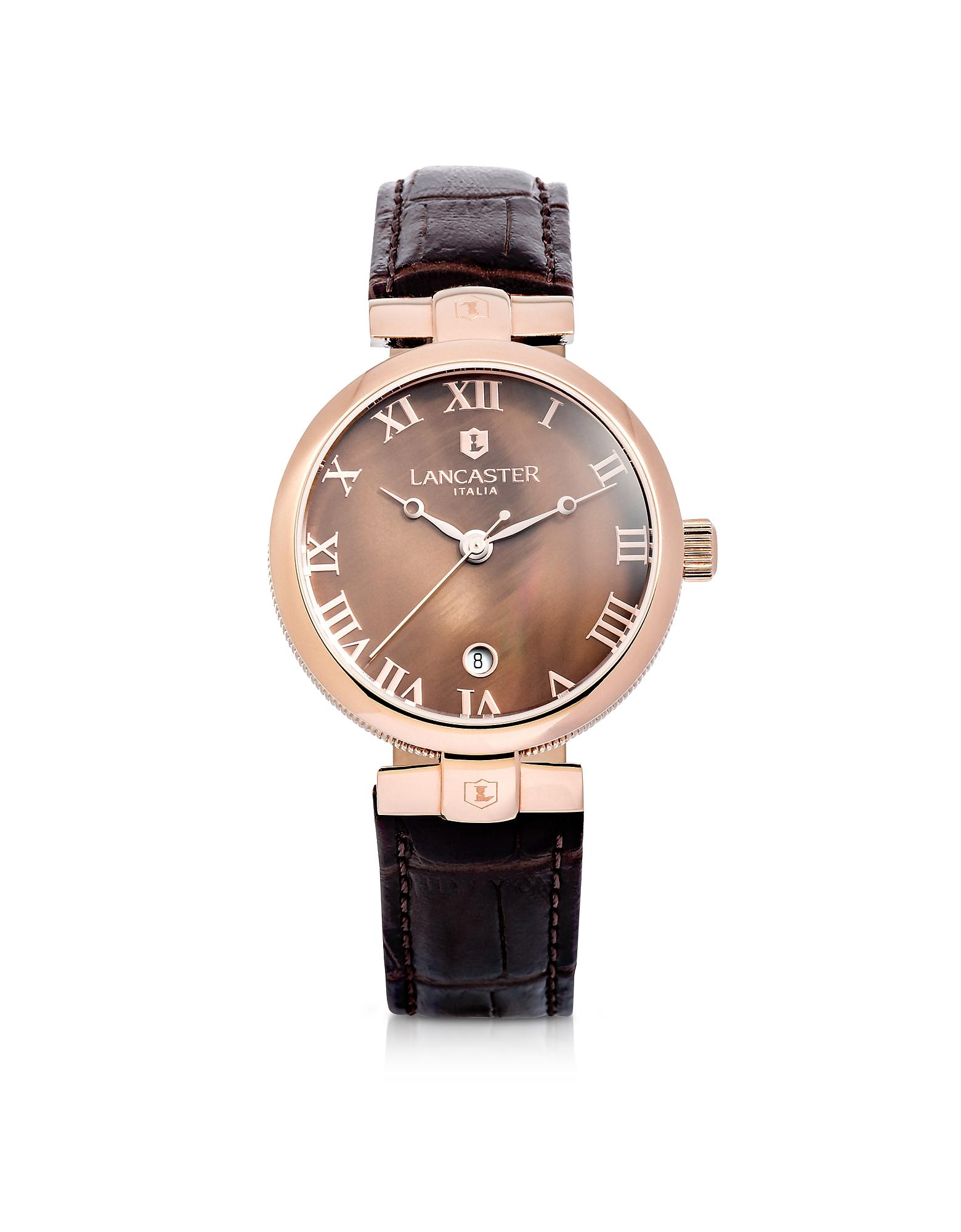 Chimaera - Часы из Нержавеющей Стали Оттенка Розового Золота на Коричневом Ремешке из Кожи под Крокодиловую