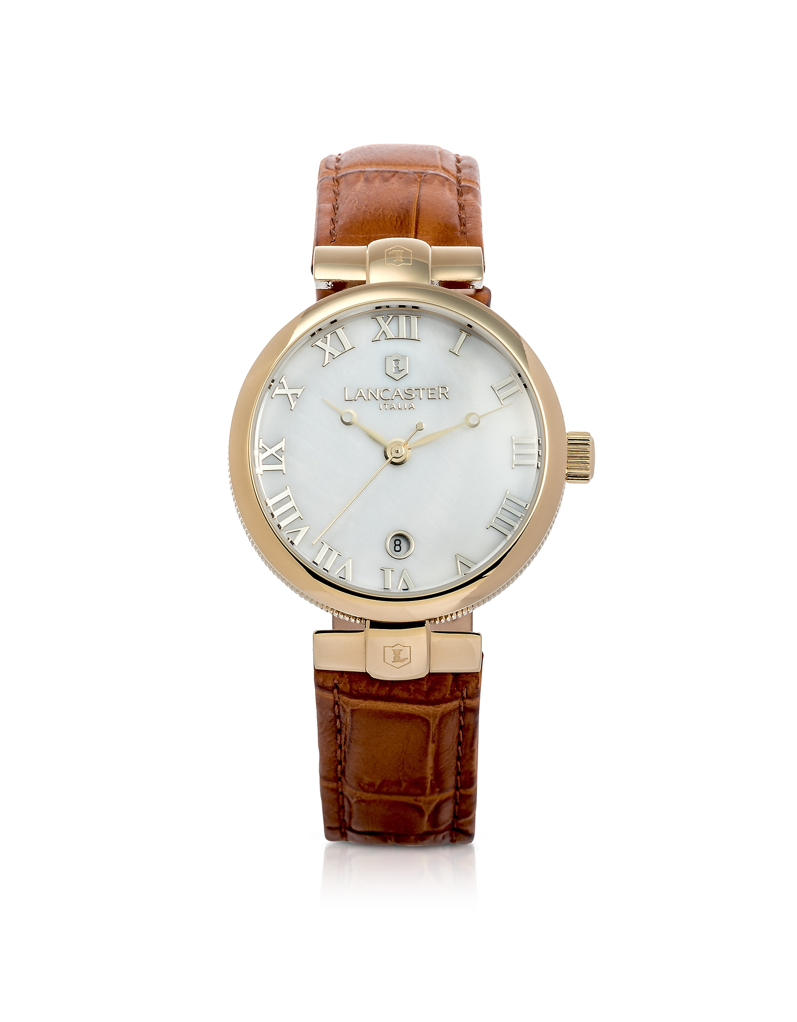 Lancaster Women's Watches, Chimaera Yellow Gold Stainless Steel and Brown Croco Leather Watch