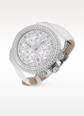 Super Pillo White Croco Band Diamond Chronograph Watch - Lancaster