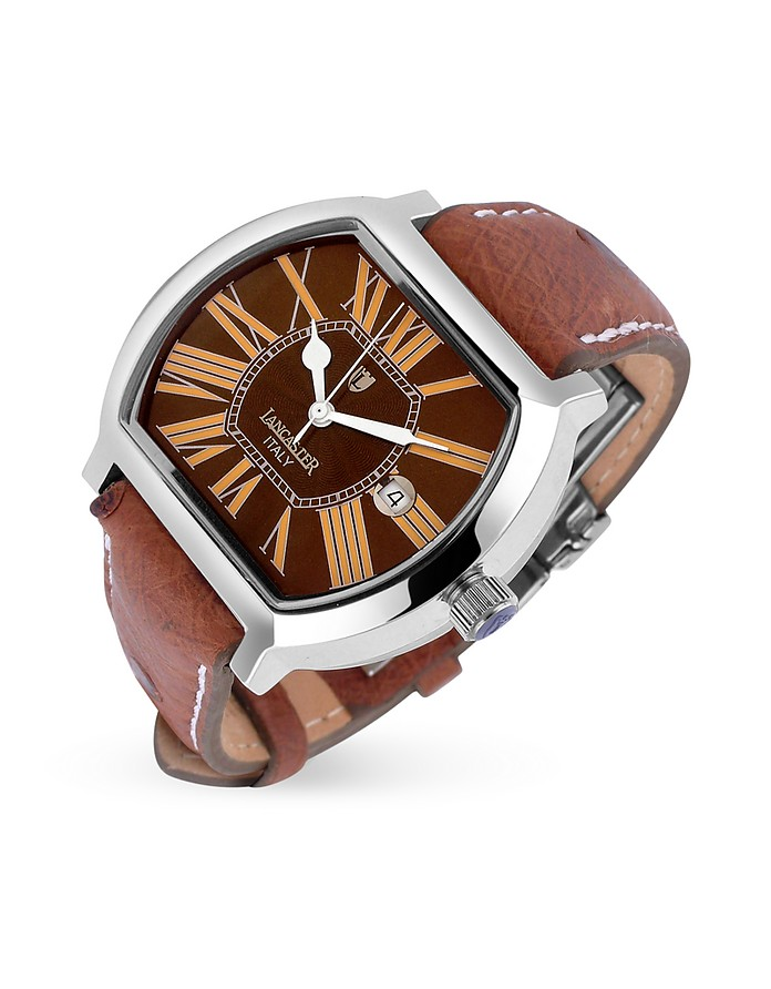 Quadretto Men's Brown Stainless Steel Date Watch - Lancaster