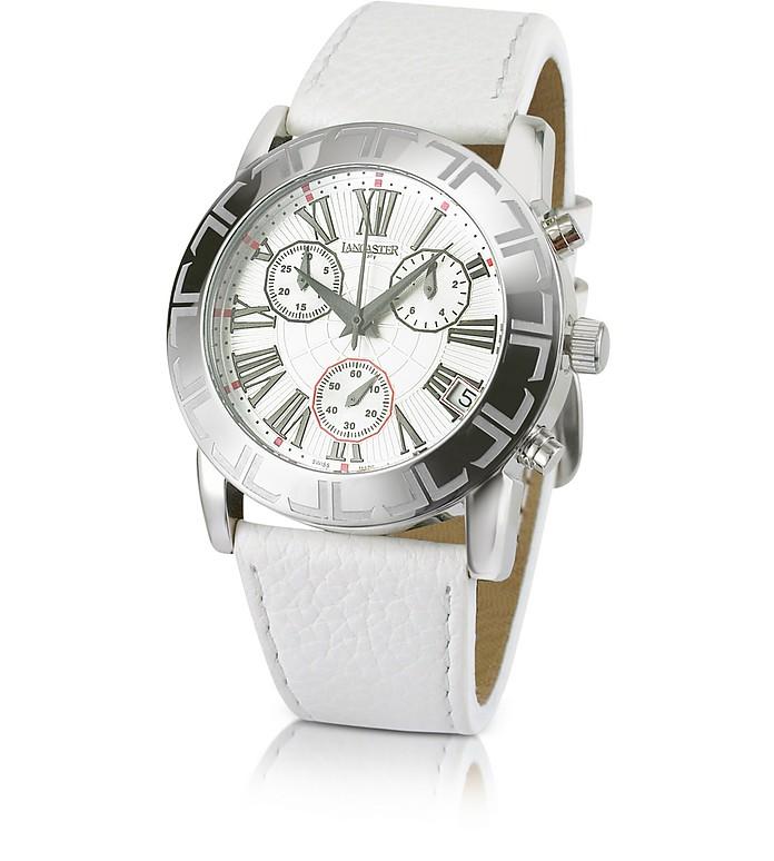 Men's Leather Strap Chrono Watch - Lancaster