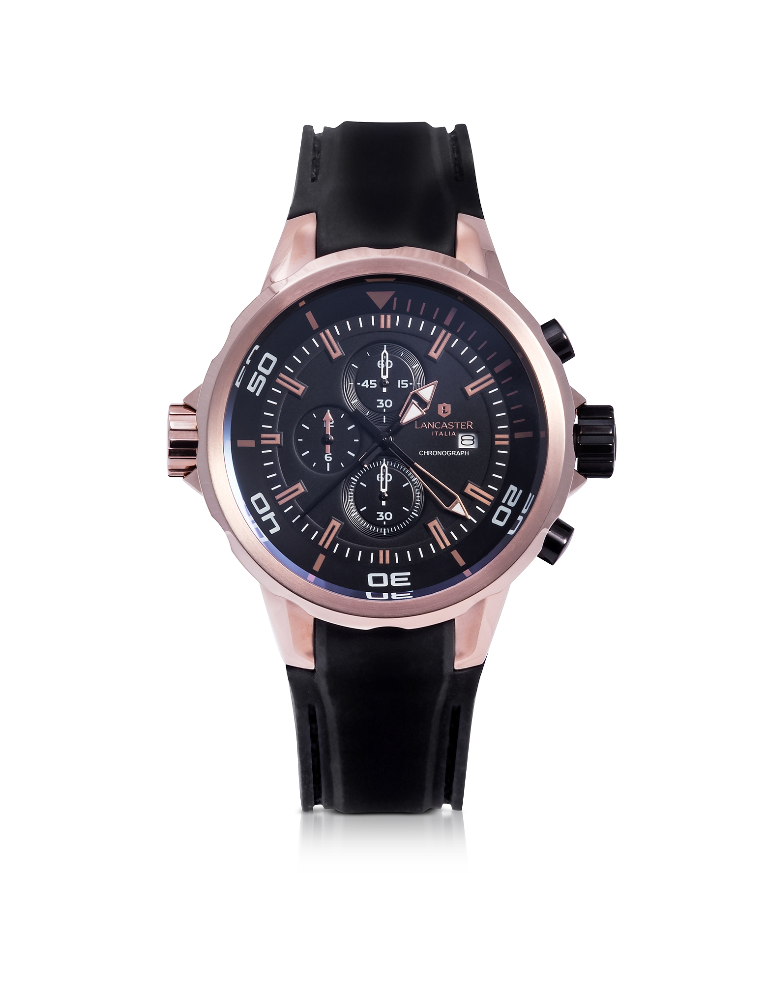 Lancaster Men's Watches, Space Shuttle Rose Gold PVD Stainless Steel Chronograph Watch