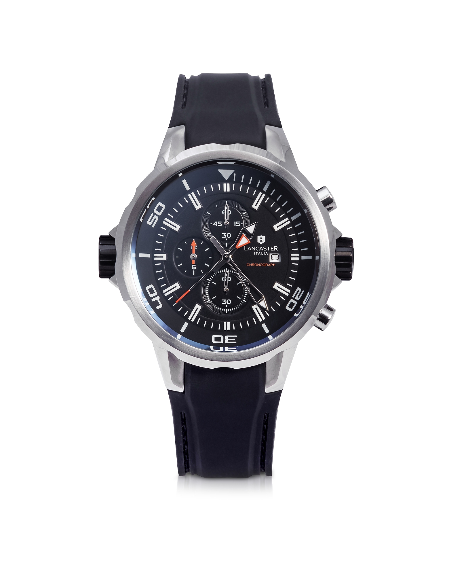 Lancaster Men's Watches, Space Shuttle Stainless Steel and Silicone Chronograph Watch