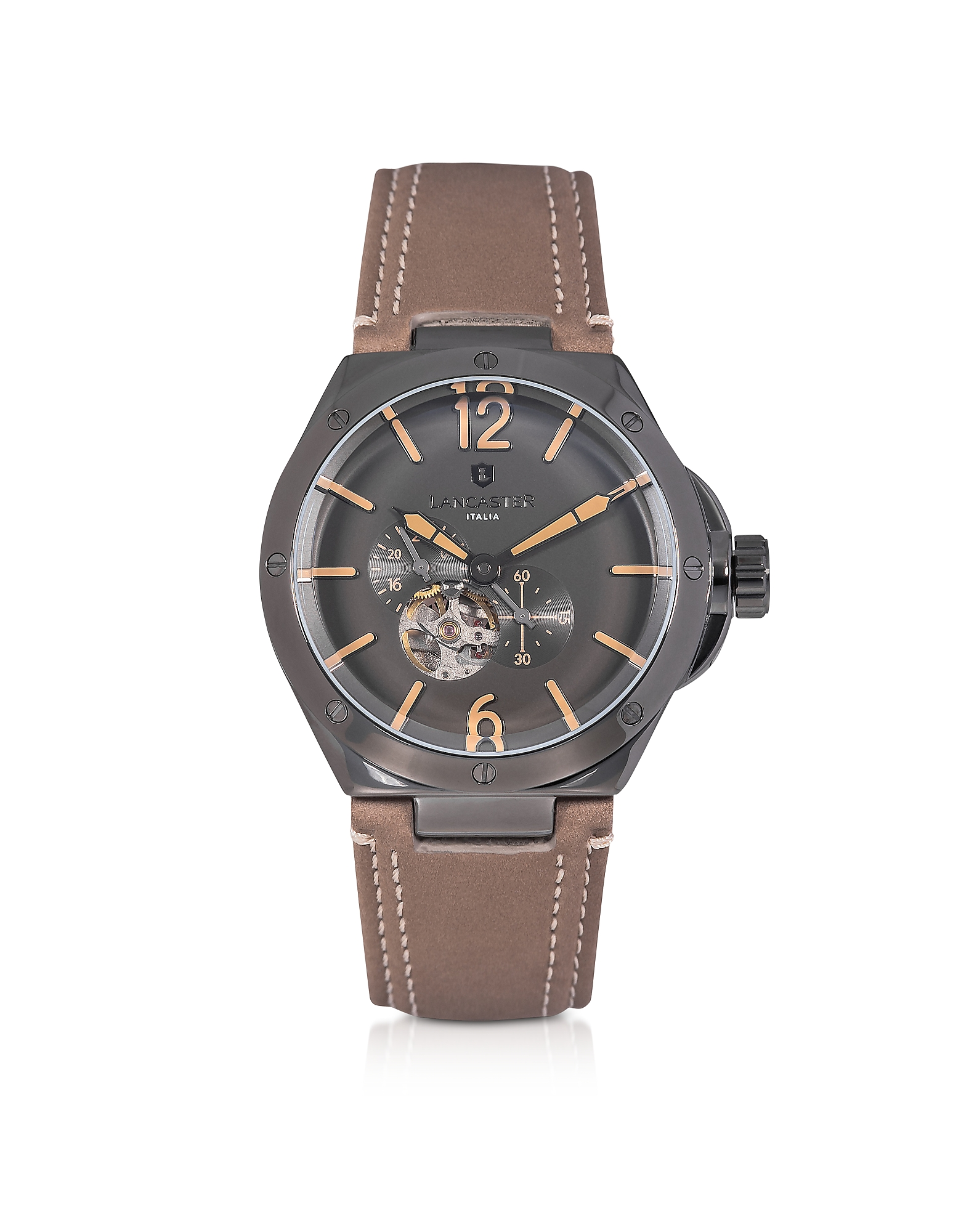 Lancaster Men's Watches, Space Shuttle Meccanico Gunmetal Stainless Steel and Natural Nubuck Men's W