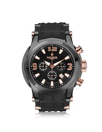 Bongo Chrono Men's Stainless Steel Watch w/ Black Rubber Strap