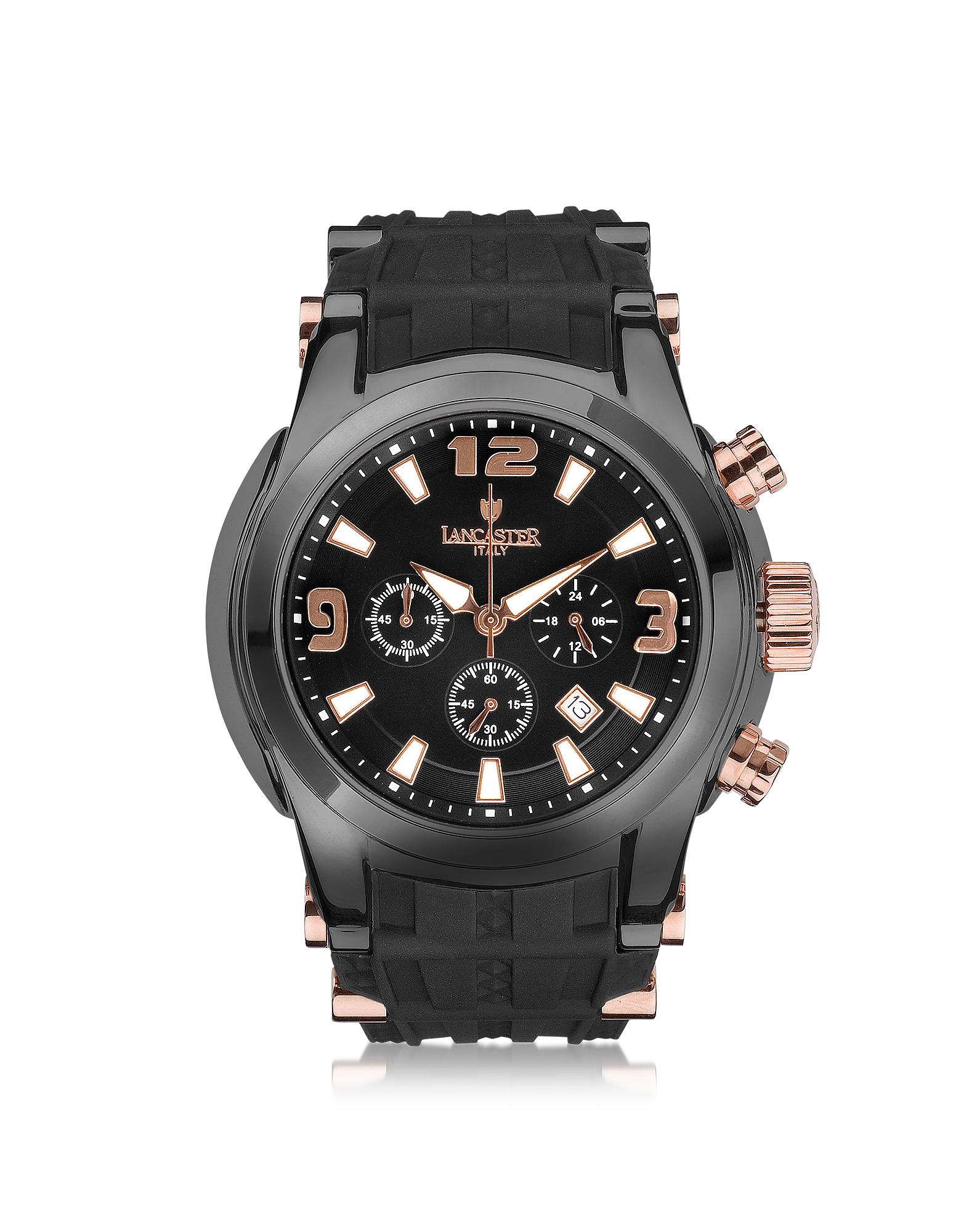 Bongo - Мужские Часы Хронограф из Нержавеющей Стали с Черным Резиновым Ремешком