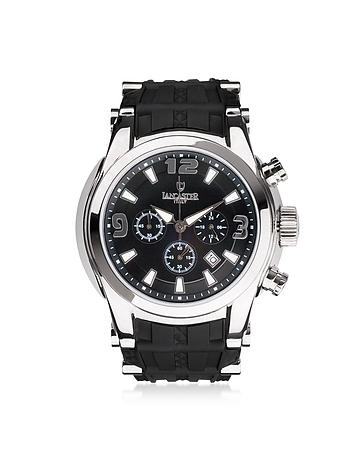 Bongo Chrono Men's Silver Stainless Steel Watch w/ Black Rubber Strap