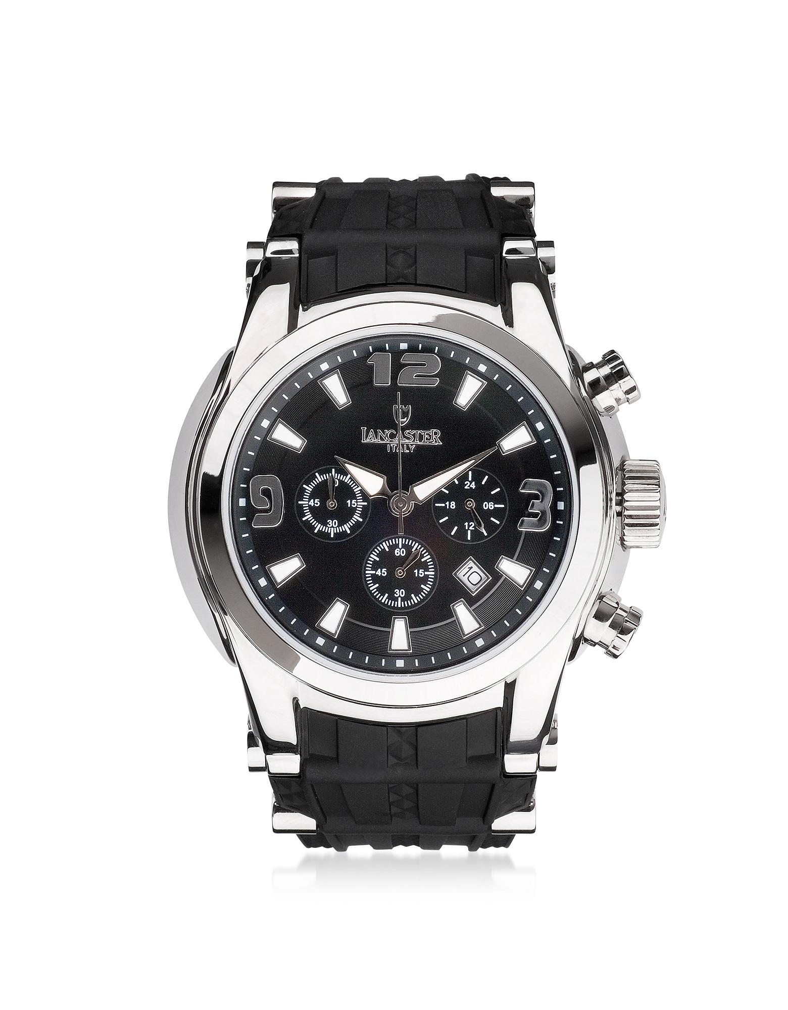 Lancaster Bongo - Мужские Часы Хронограф из Серебристой Нержавеющей Стали на Черном Резиновом Ремешке