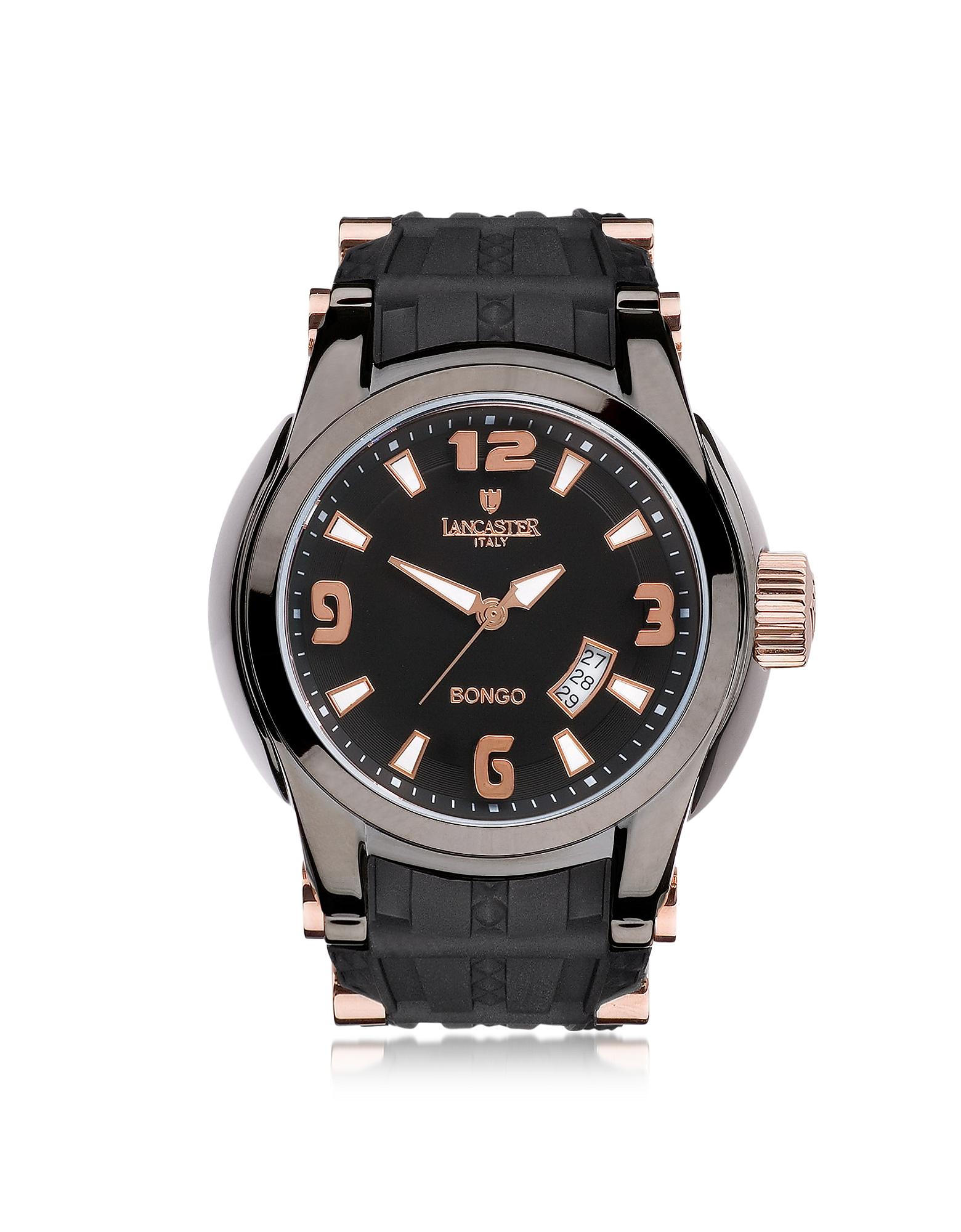 Bongo Tempo - Мужские Часы из Нержавеющей Стали на Черном Резиновом Ремешке