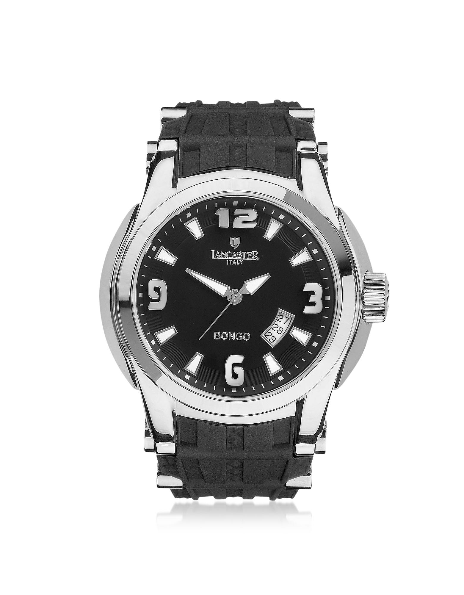 Bongo Tempo - Мужские Серебристые Часы из Нержавеющей Стали на Черном Резиновом Ремешке