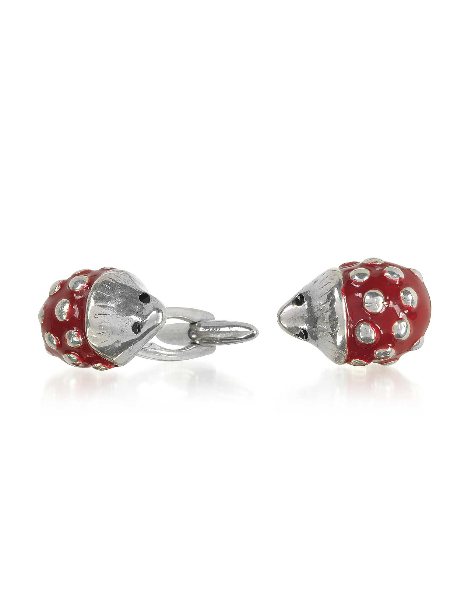 Forzieri Exclusives Designer Vintage Cufflinks, Sterling Silver and Enamel Hedgehog Cufflinks
