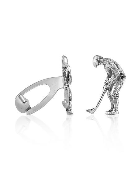 Forzieri Exclusives Handgemachte Manschettenknöpfe Golfer aus Sterling Silber