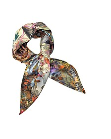 Delicias Mundi Print Silk Square Scarf - Christian Lacroix