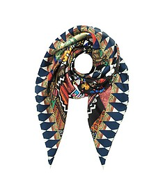 Black and Ivory Love Printed Silk Square Scarf - Christian Lacroix