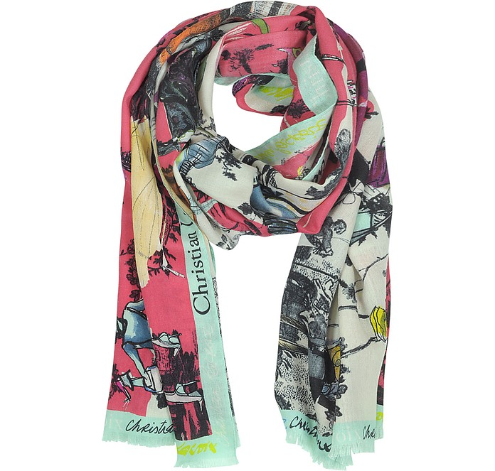 Defile' Print Wool and Silk Stole - Christian Lacroix