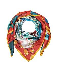 玫瑰 d'Afrique印花丝绸围巾 - Christian Lacroix 克里斯汀·拉克鲁瓦