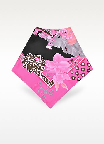 Black and Pink Floral Printed Silk Square Scarf - Leonard