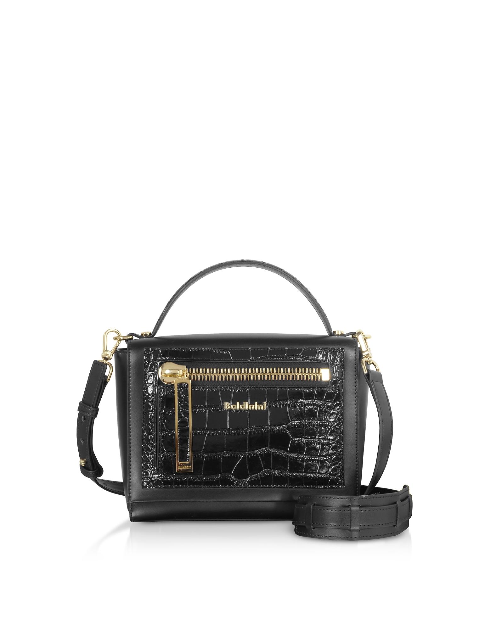 Baldinini Designer Handbags, Sophie Croco Embossed Leather Shoulder Bag