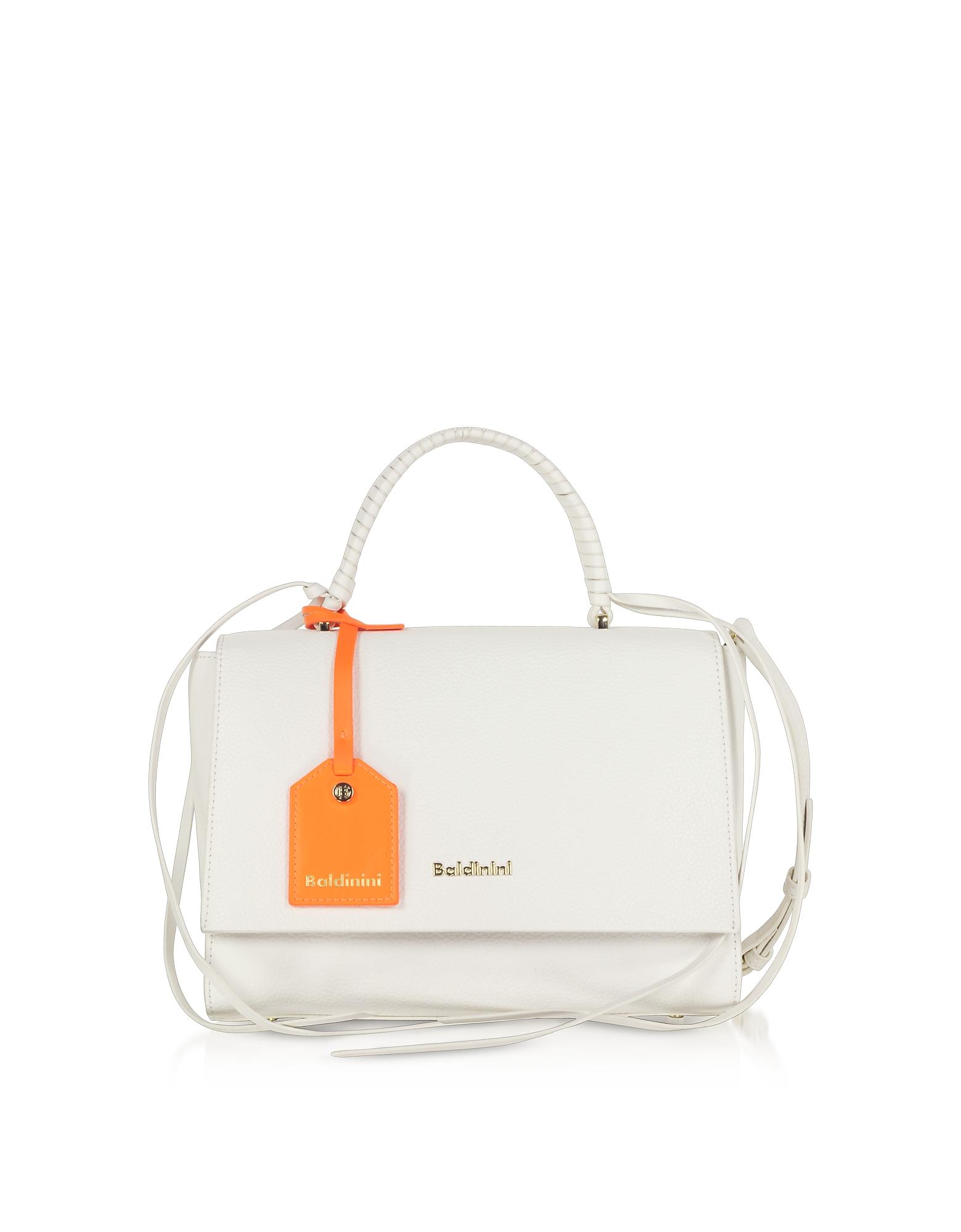 Baldinini Designer Handbags, Daisy White Satchel Bag