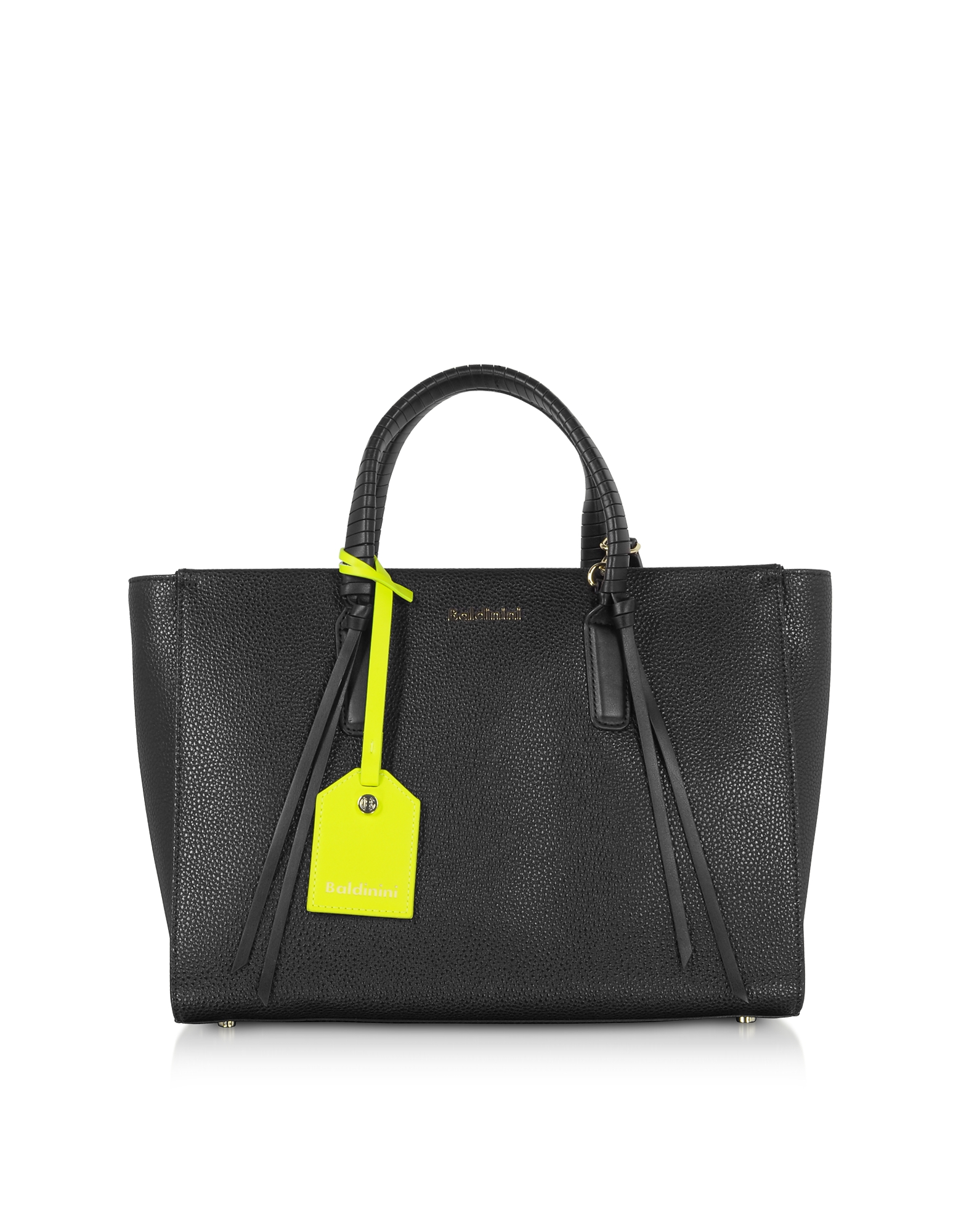 Baldinini Designer Handbags, Daisy Black Leather Tote Bag