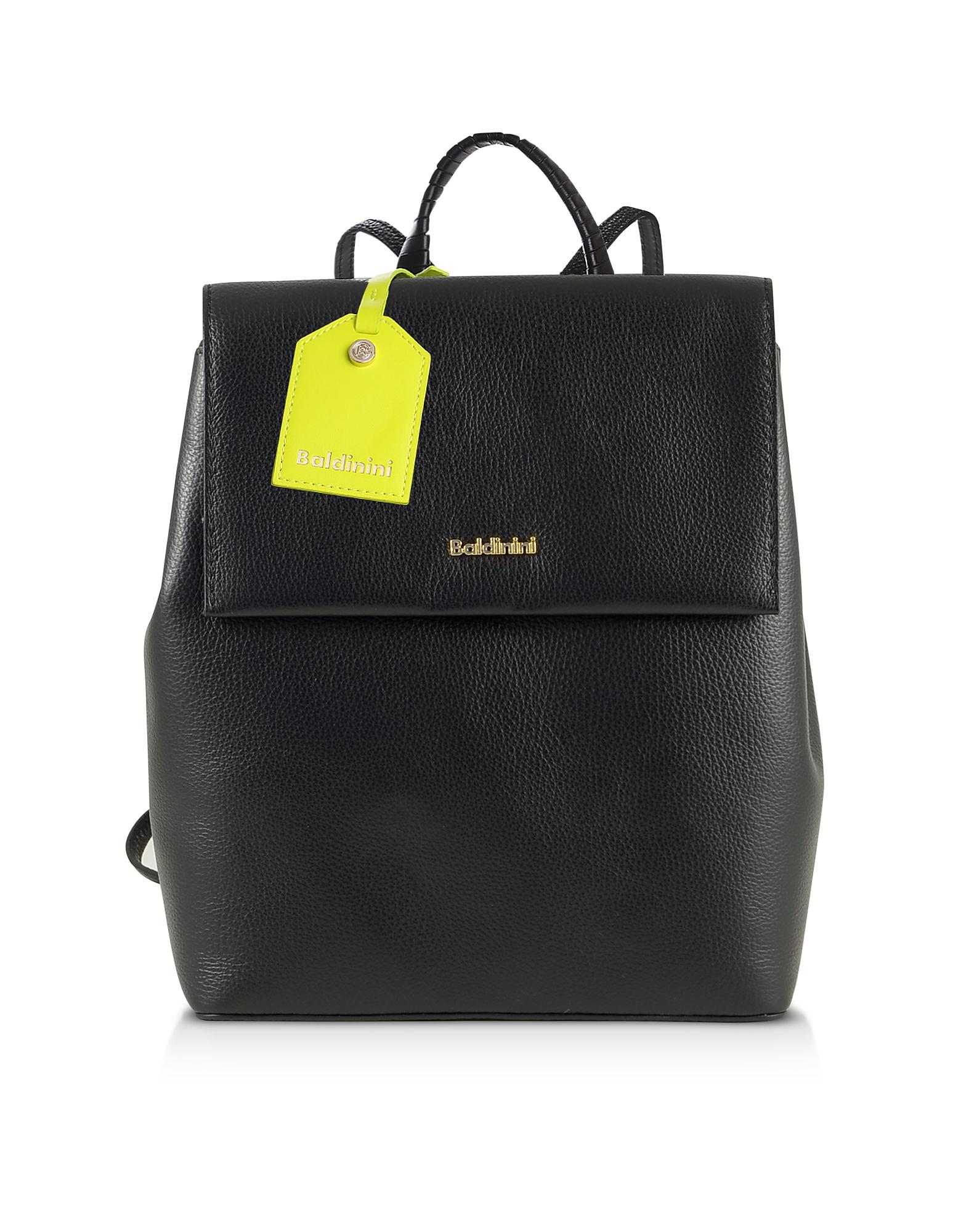 Baldinini Designer Handbags, Black Eco-Leather Backpack