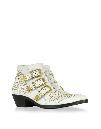 Lux-ID 307218 Golden Studs White Leather Ankle Boot