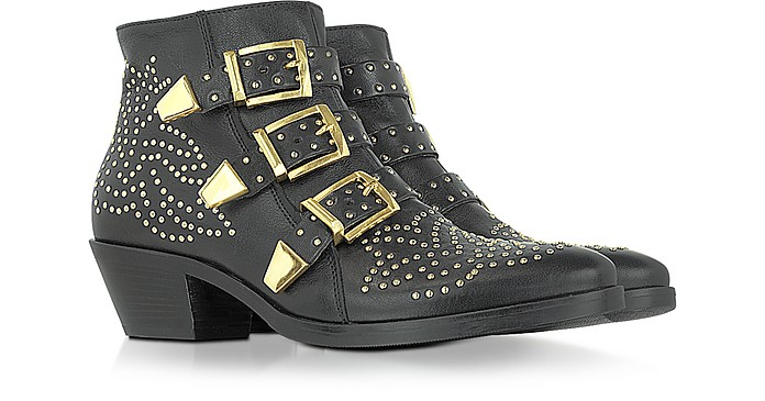 Golden Studs Black Leather Ankle Boot - Lemaré