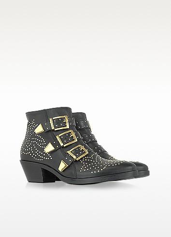 Golden Studs Black Leather Ankle Boot - Lemaré