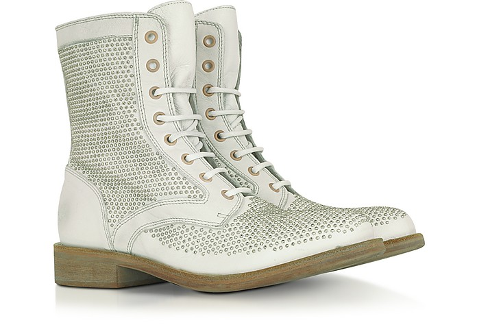 White Studded Leather Boot - Lemaré