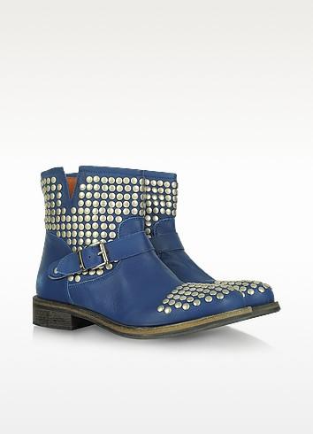 Navy Blue Studded Leather Biker Boots - Lemaré