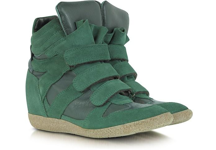 Dark Green Suede Wedge Sneaker - Lemaré