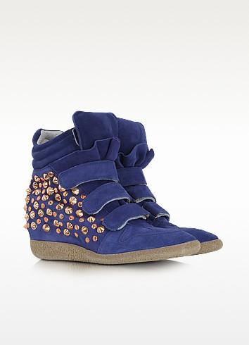 Studded Blue Suede Wedge Sneaker - Lemaré