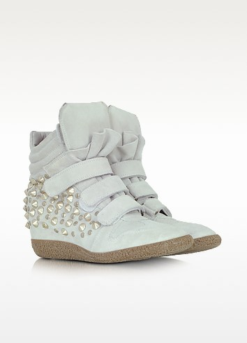 Studded White Suede Wedge Sneaker - Lemaré
