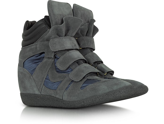 Dark Gray Suede and Nylon Wedge Sneaker - Lemaré