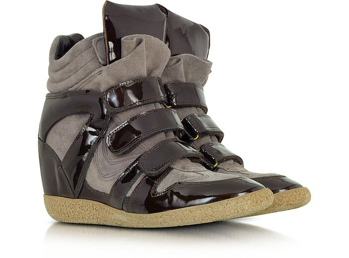 Suede and Patent Leather Wedge Sneaker - Lemaré