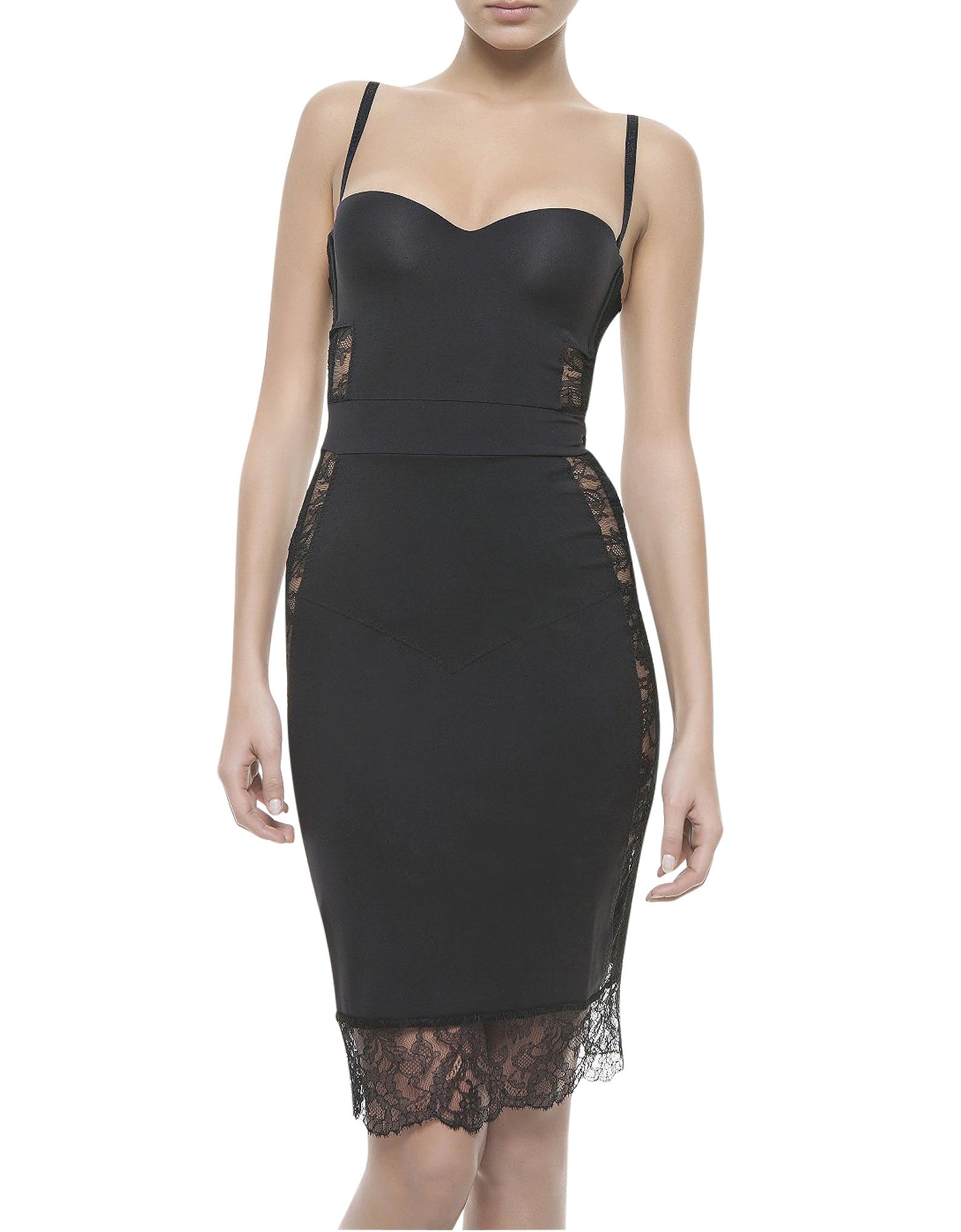 Фото Shape-Allure - Черное Моделирующее Платье из Лайкры и Кружева. Купить с доставкой