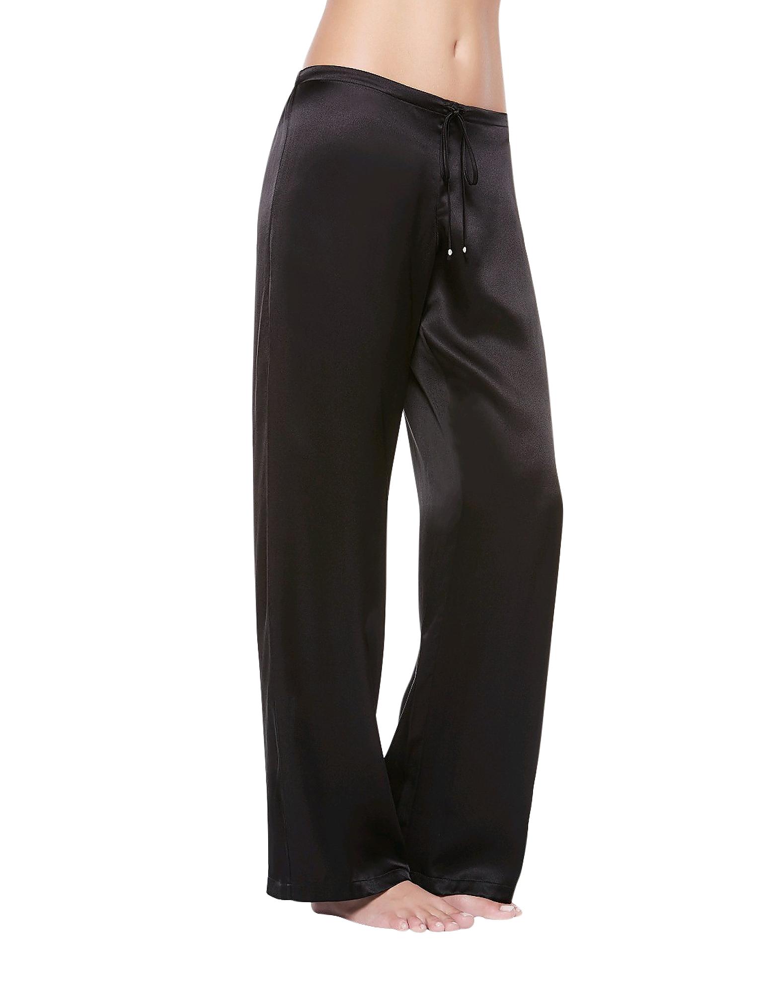 Petit Macrame Black Satin Silk Classic Trousers