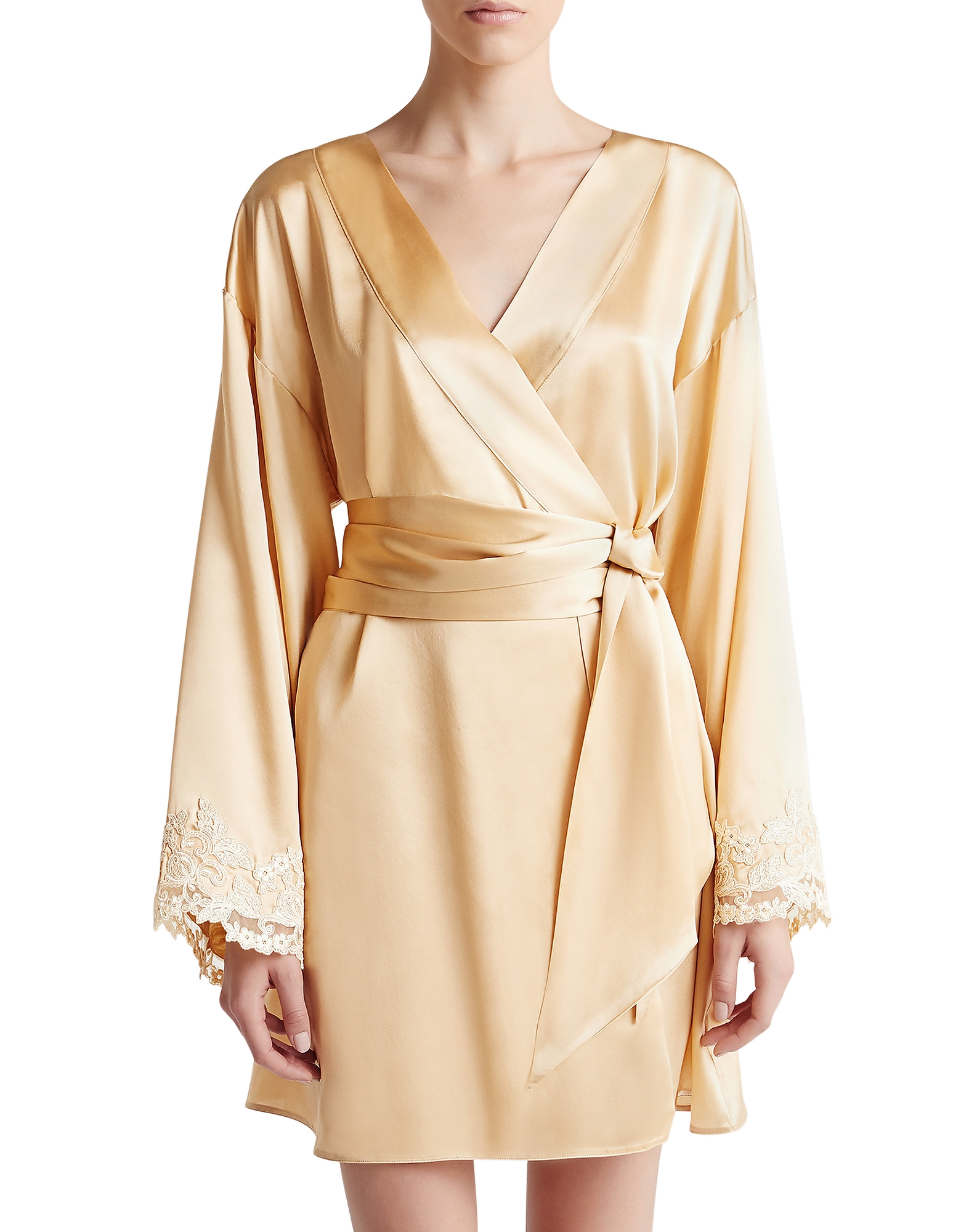 La Perla Robes, Maison Beige Silk Satin Short Robe
