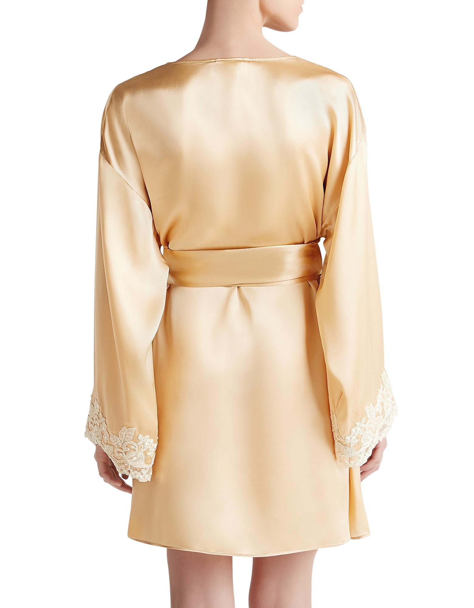 Maison Beige Silk Satin Short Robe от Forzieri.com INT