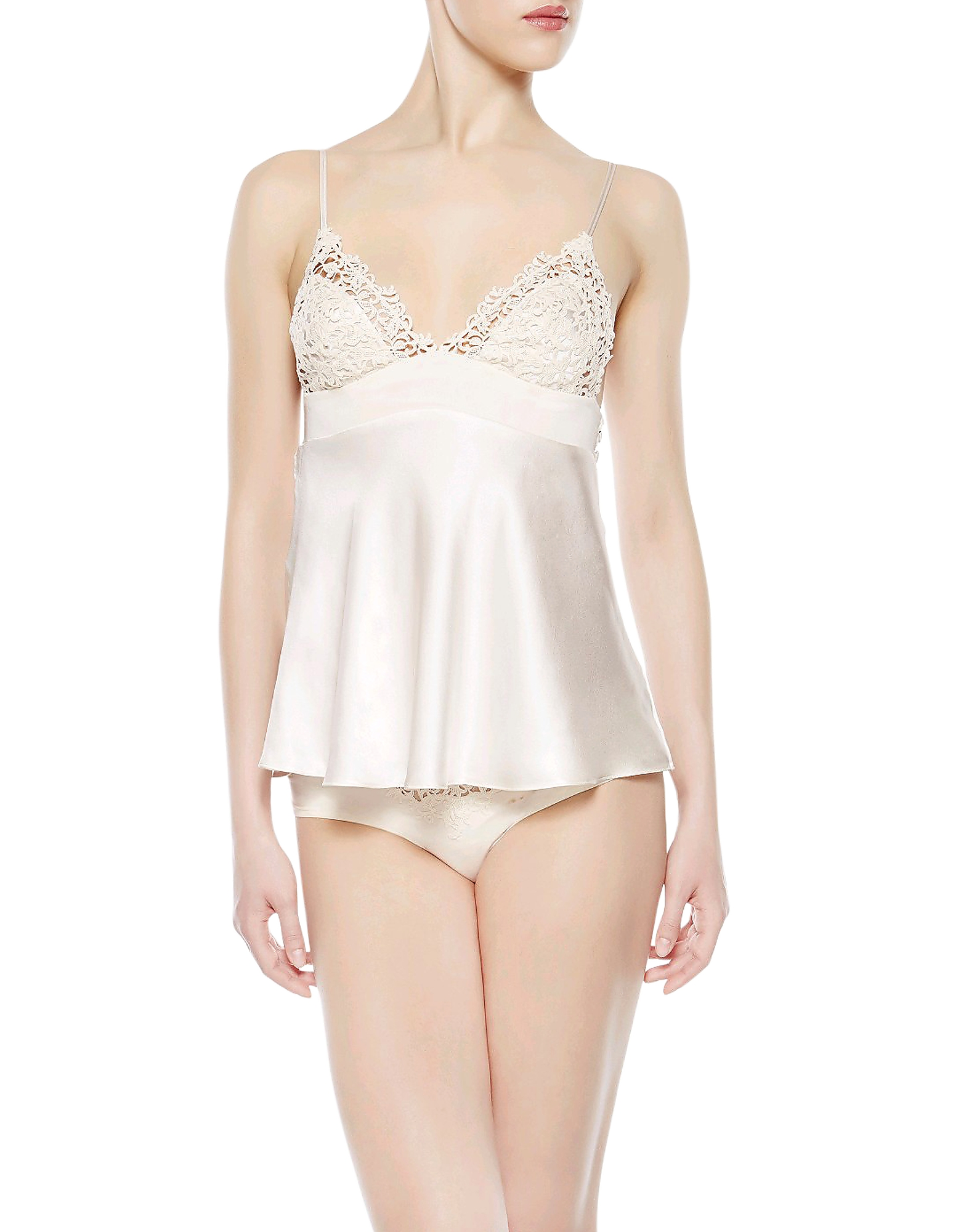 La Perla Tops, Petit Macrame Natural Satin Silk Vest Top