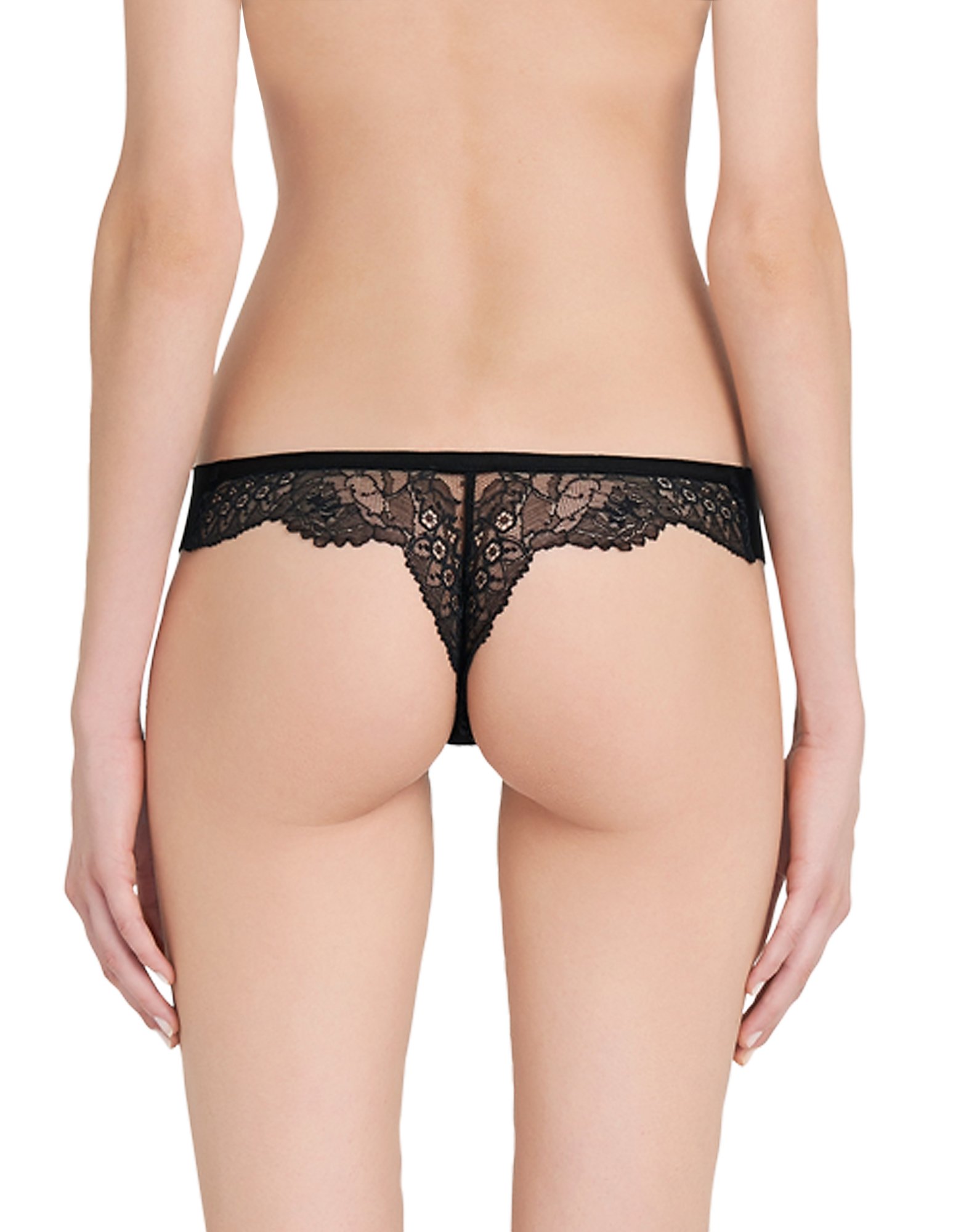 Lace Frills Black Leavers Lace and Neoprene Low-rise Thong от Forzieri.com INT