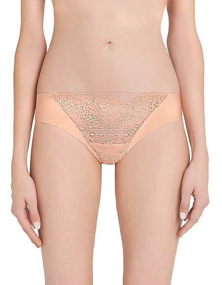 La Perla Lace Frills Nude Leavers Lace and Neoprene Low-rise Thong
