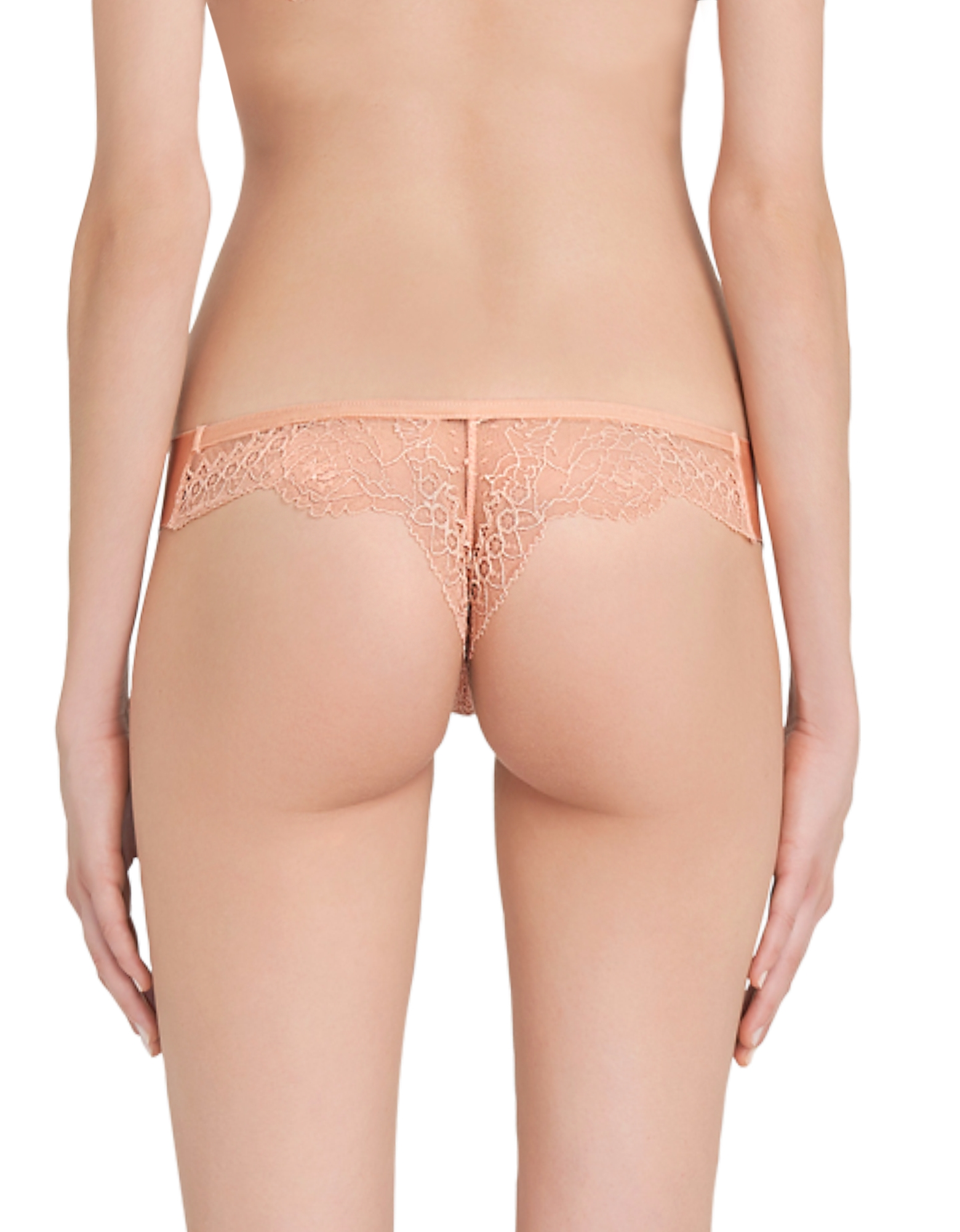 Lace Frills Nude Leavers Lace and Neoprene Low-rise Thong от Forzieri.com INT